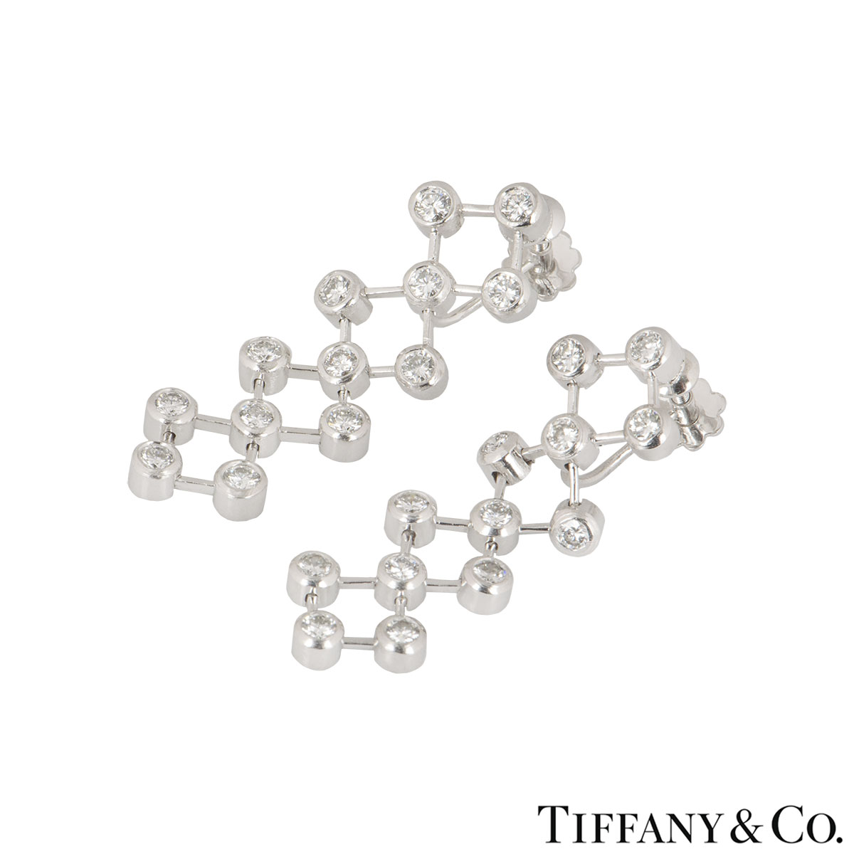 Tiffany & Co. Platinum Diamond Drop Earrings